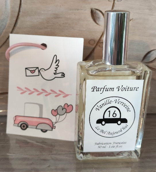 Spray parfum de voiture et carte diffuseur vanille verveine